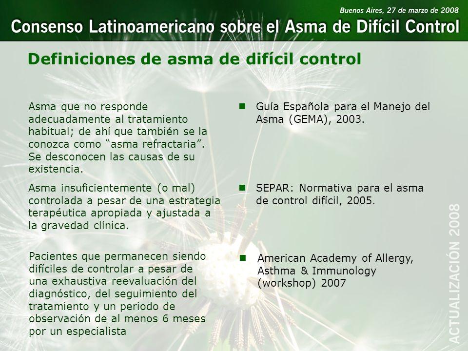 Definiciones de asma de difícil control