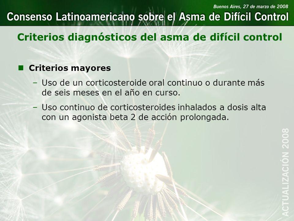 Criterios diagnósticos del asma de difícil control