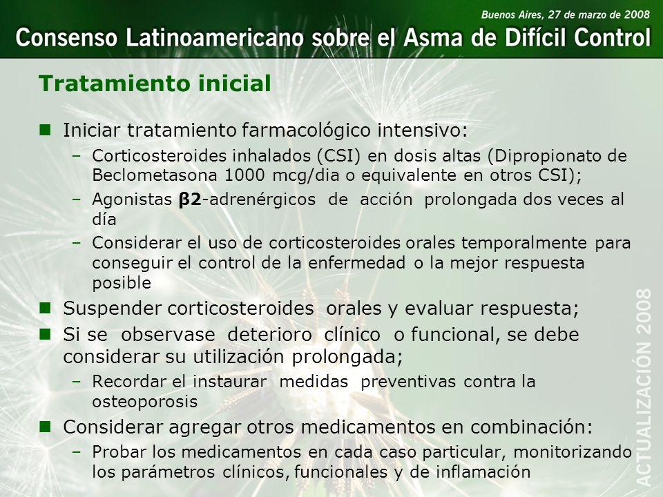 Tratamiento inicial Iniciar tratamiento farmacológico intensivo:
