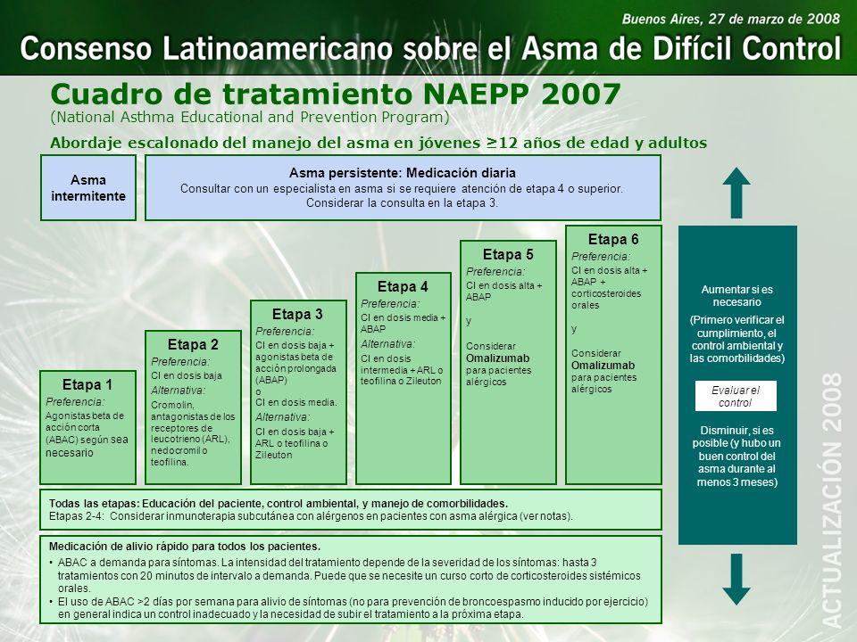 Asma persistente: Medicación diaria