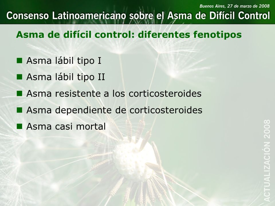 Asma de difícil control: diferentes fenotipos