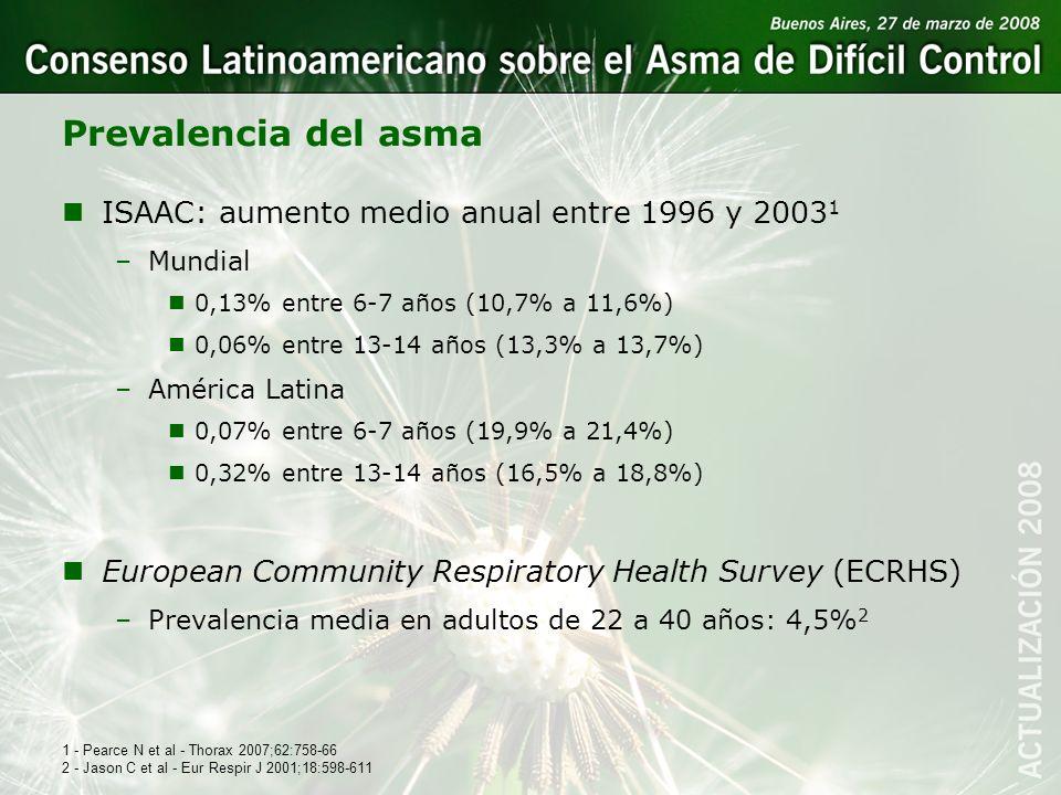 Prevalencia del asma ISAAC: aumento medio anual entre 1996 y 20031