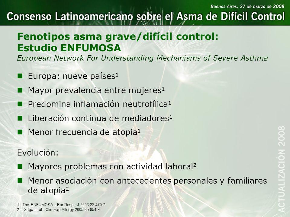 Fenotipos asma grave/difícil control: Estudio ENFUMOSA European Network For Understanding Mechanisms of Severe Asthma