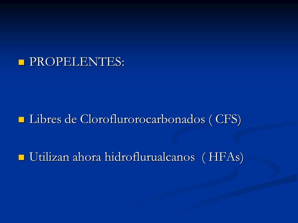 PROPELENTES: Libres de Cloroflurorocarbonados ( CFS) Utilizan ahora hidroflurualcanos ( HFAs)
