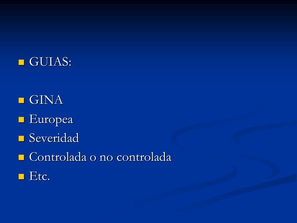 GUIAS: GINA Europea Severidad Controlada o no controlada Etc.