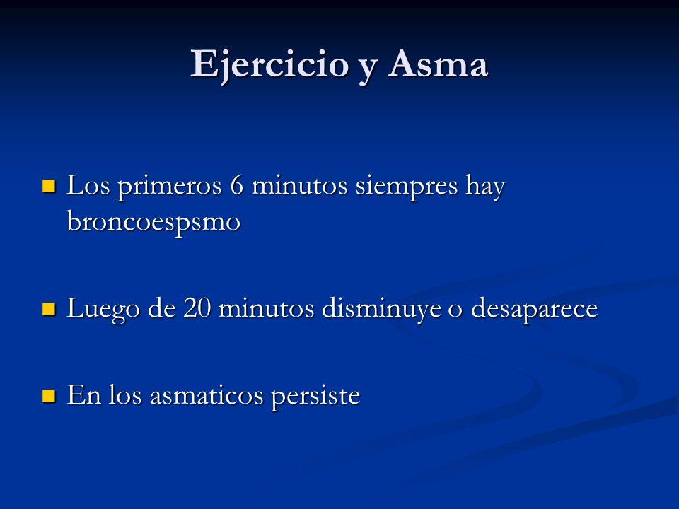 Ejercicio y Asma Los primeros 6 minutos siempres hay broncoespsmo