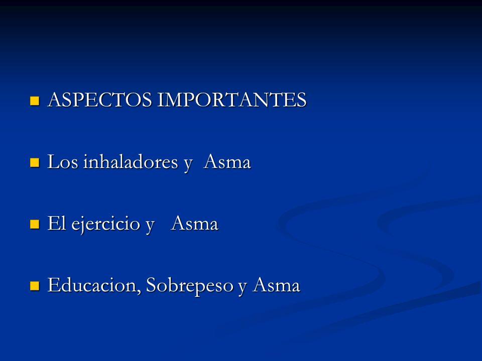 ASPECTOS IMPORTANTES Los inhaladores y Asma El ejercicio y Asma Educacion, Sobrepeso y Asma