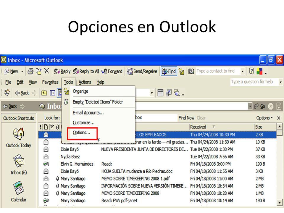 Opciones en Outlook