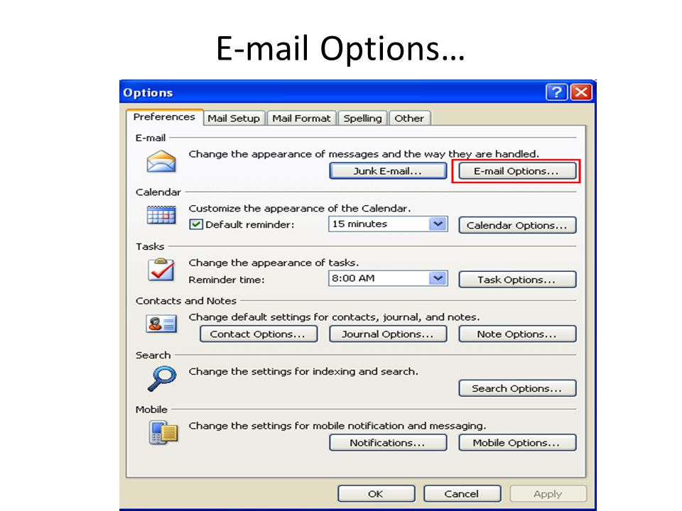 E-mail Options…