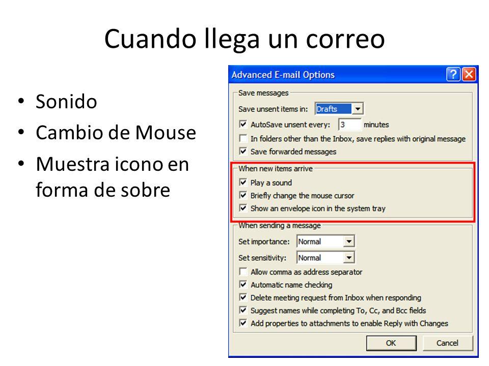 Cuando llega un correo Sonido Cambio de Mouse