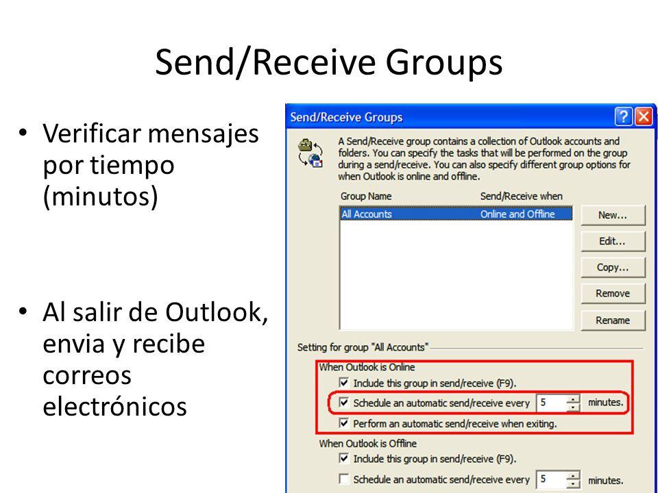 Send/Receive Groups Verificar mensajes por tiempo (minutos)