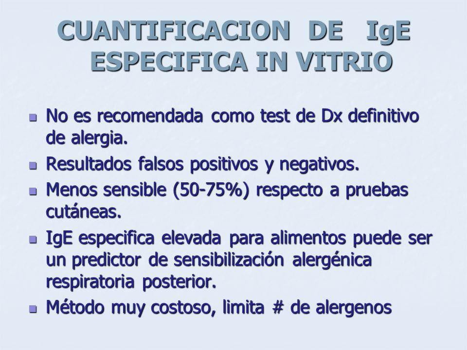 CUANTIFICACION DE IgE ESPECIFICA IN VITRIO