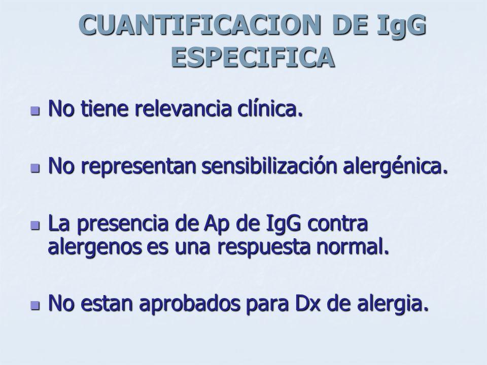 CUANTIFICACION DE IgG ESPECIFICA