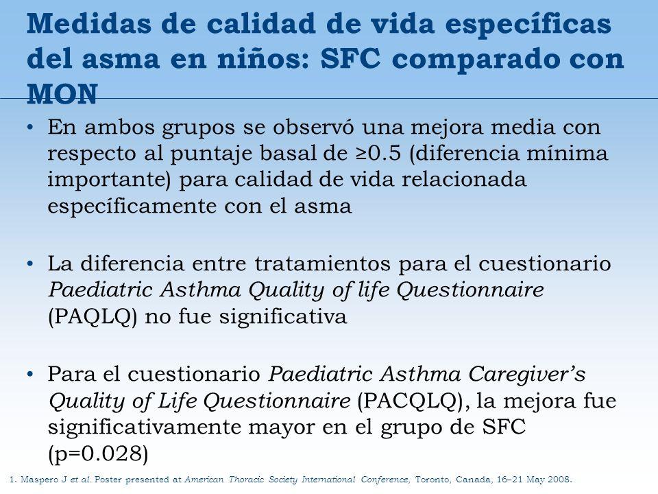 Medidas de calidad de vida específicas del asma en niños: SFC comparado con MON