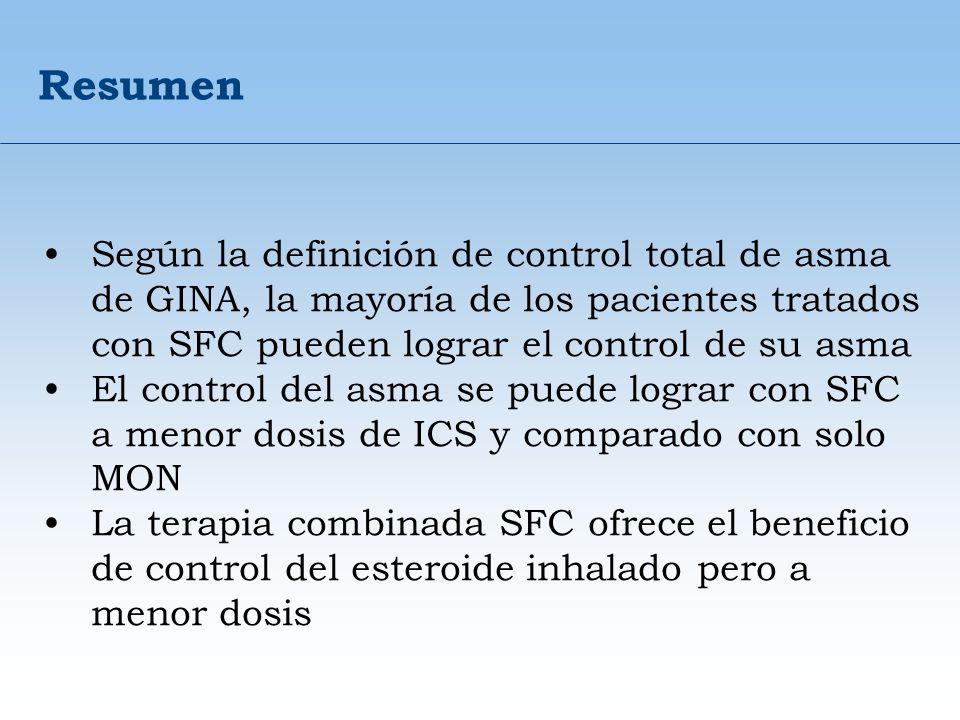 Resumen Según la definición de control total de asma de GINA, la mayoría de los pacientes tratados con SFC pueden lograr el control de su asma.