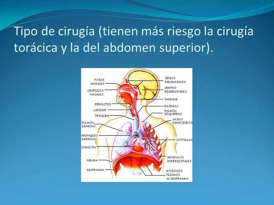 Tipo de cirugía (tienen más riesgo la cirugía torácica y la del abdomen superior).