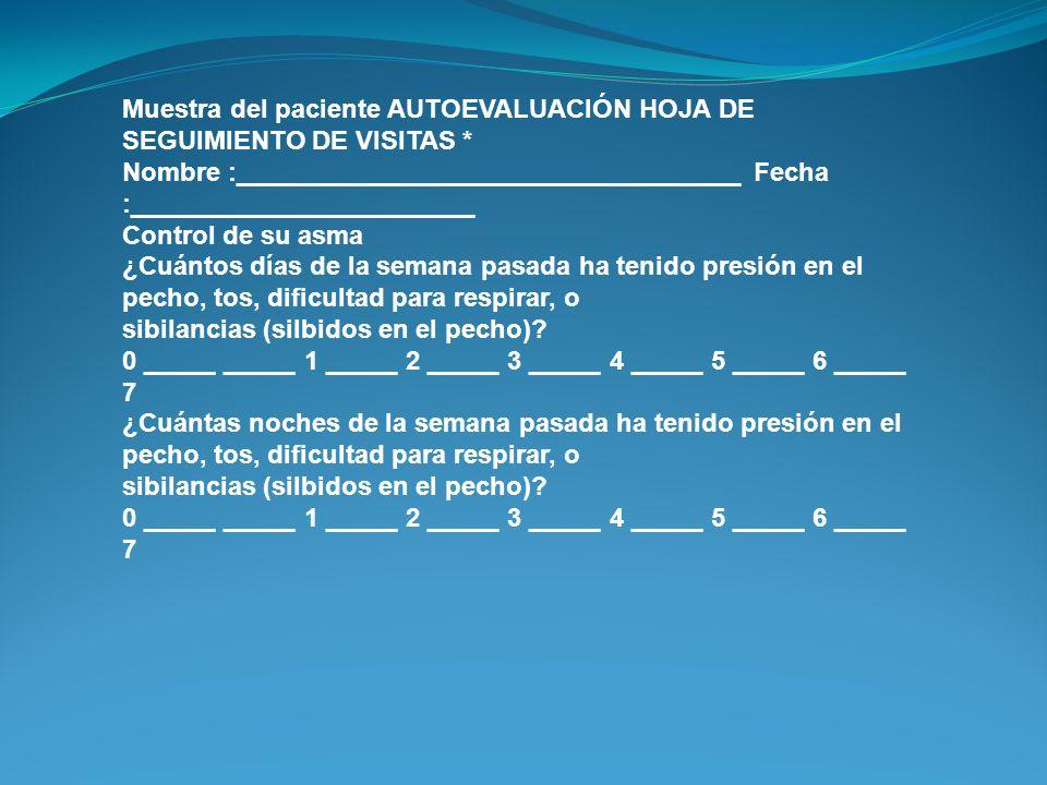 Muestra del paciente AUTOEVALUACIÓN HOJA DE SEGUIMIENTO DE VISITAS