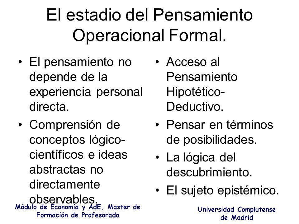 El estadio del Pensamiento Operacional Formal.