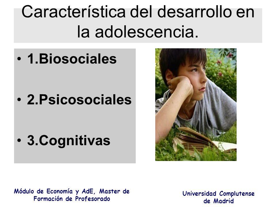 Característica del desarrollo en la adolescencia.