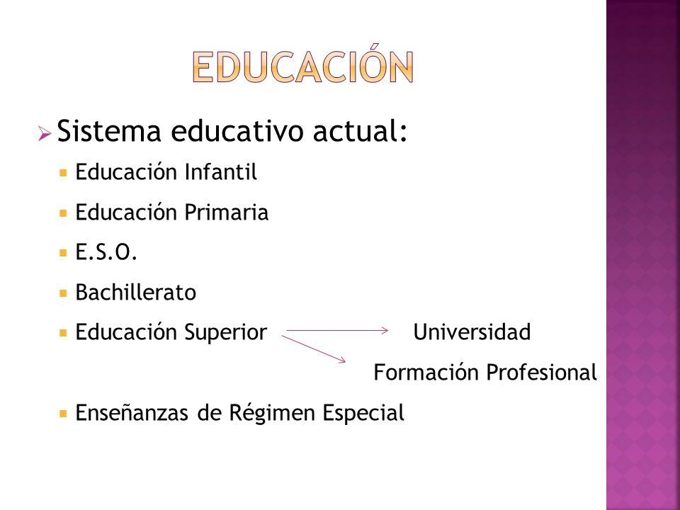 EDUCACIÓN Sistema educativo actual: Educación Infantil