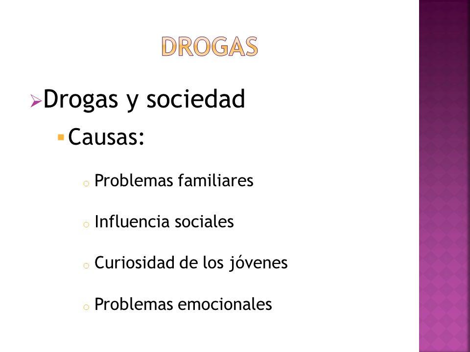 DROGAS Drogas y sociedad Causas: Problemas familiares