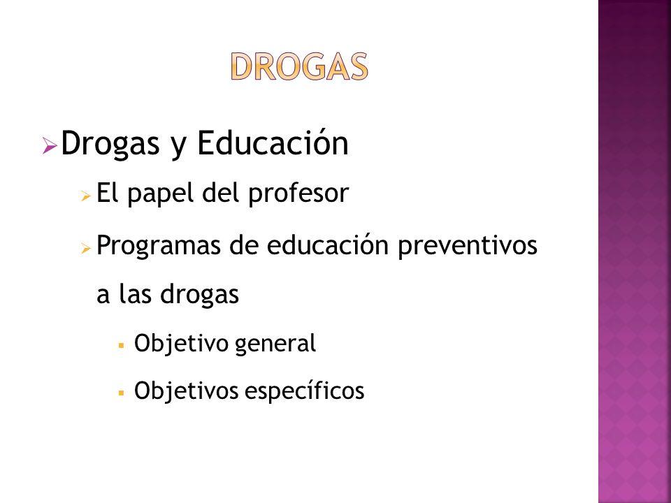 DROGAS Drogas y Educación El papel del profesor