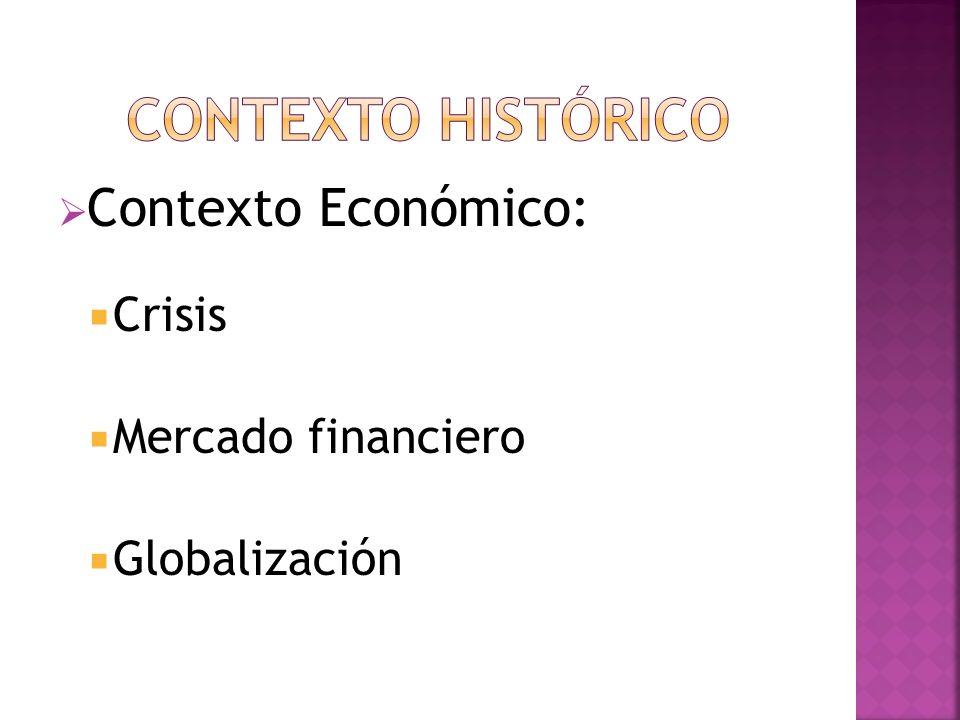 CONTEXTO HISTÓRICO Contexto Económico: Crisis Mercado financiero