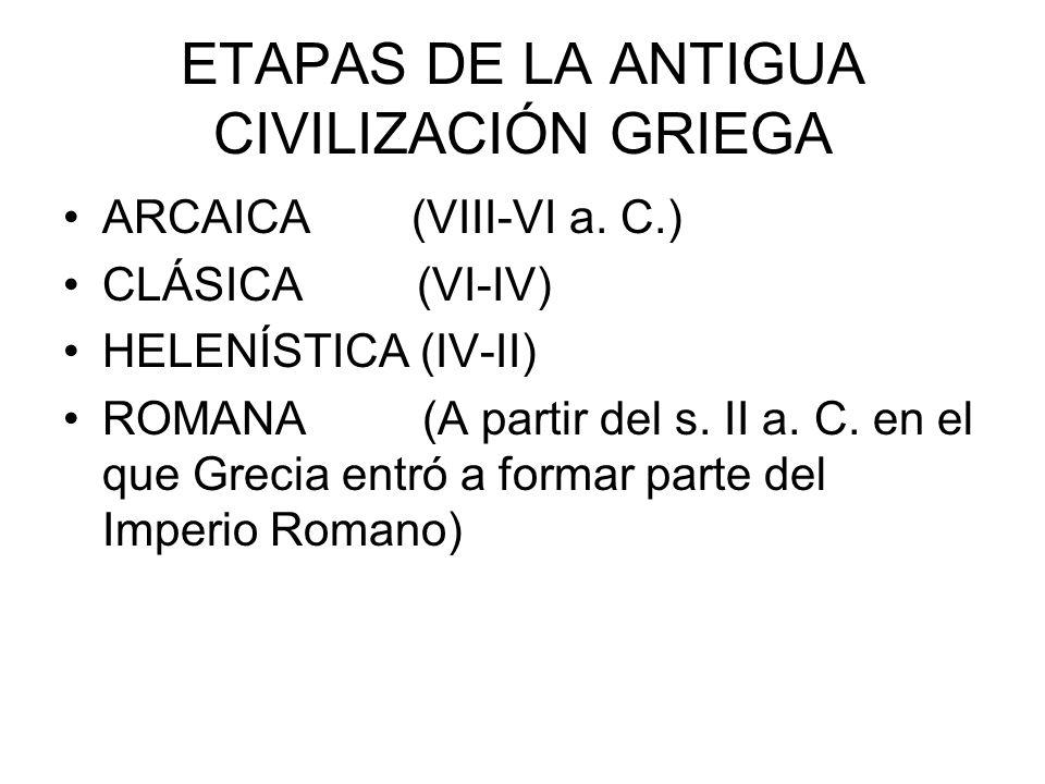 ETAPAS DE LA ANTIGUA CIVILIZACIÓN GRIEGA