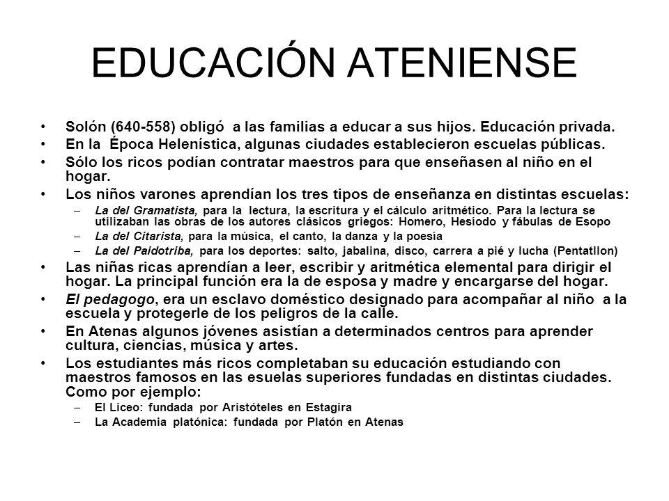 EDUCACIÓN ATENIENSE Solón (640-558) obligó a las familias a educar a sus hijos. Educación privada.