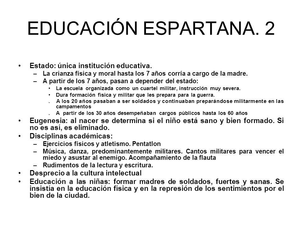 EDUCACIÓN ESPARTANA. 2 Estado: única institución educativa.