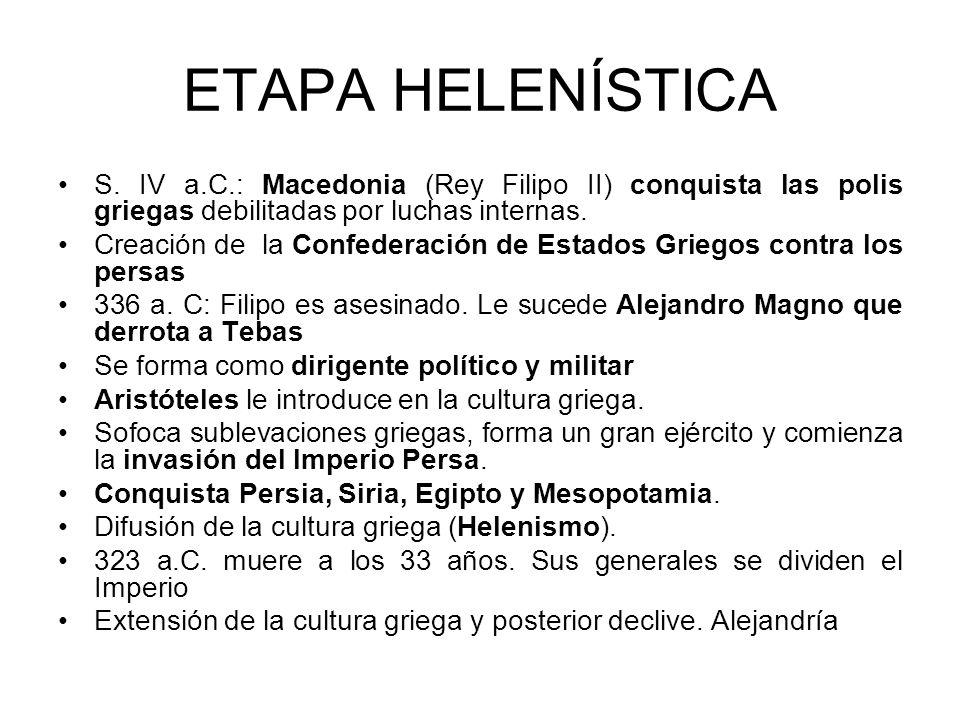 ETAPA HELENÍSTICA S. IV a.C.: Macedonia (Rey Filipo II) conquista las polis griegas debilitadas por luchas internas.