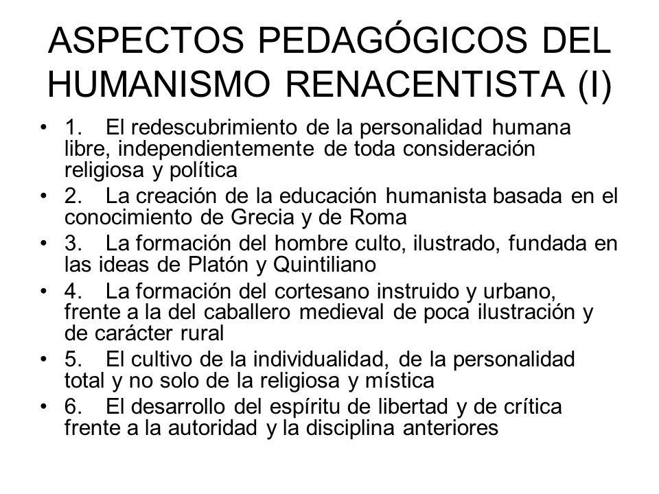 ASPECTOS PEDAGÓGICOS DEL HUMANISMO RENACENTISTA (I)