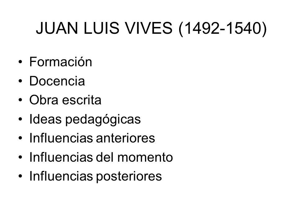 JUAN LUIS VIVES (1492-1540) Formación Docencia Obra escrita