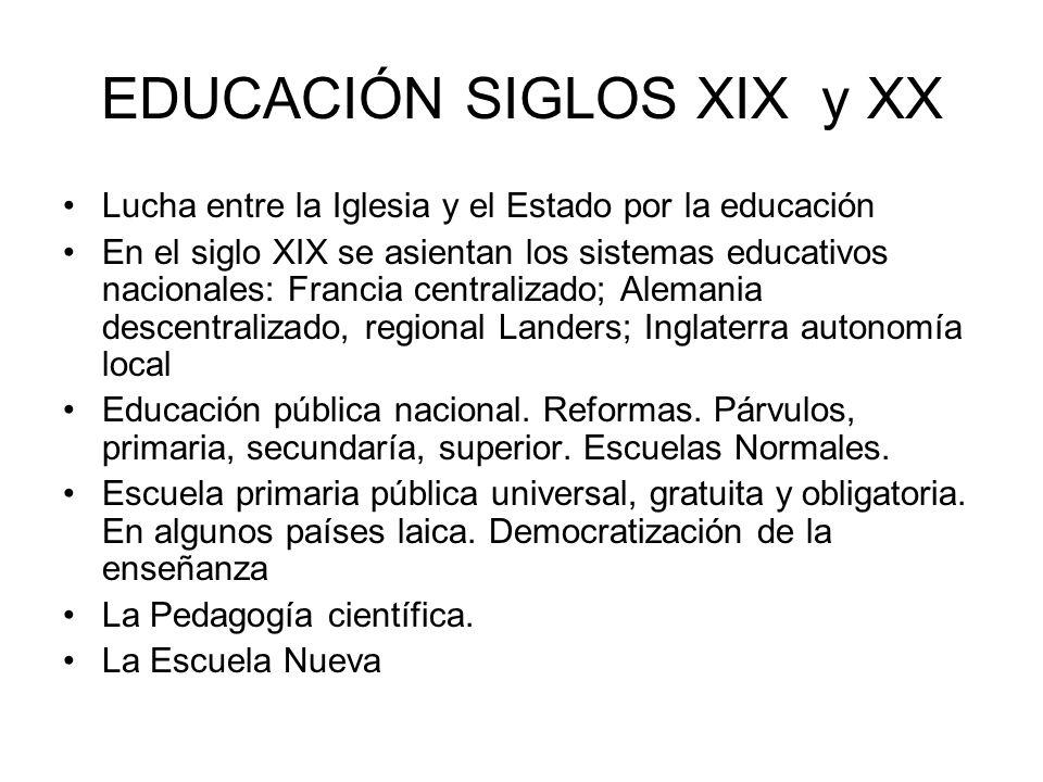 EDUCACIÓN SIGLOS XIX y XX