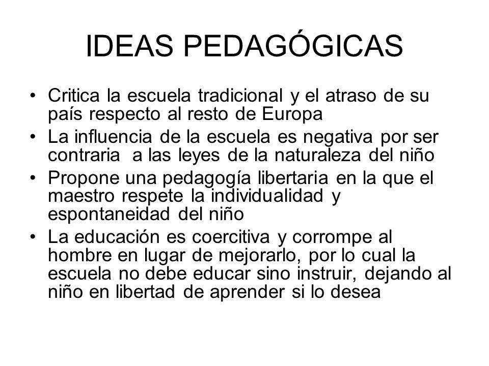 IDEAS PEDAGÓGICASCritica la escuela tradicional y el atraso de su país respecto al resto de Europa.