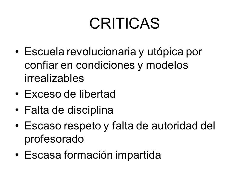 CRITICAS Escuela revolucionaria y utópica por confiar en condiciones y modelos irrealizables. Exceso de libertad.