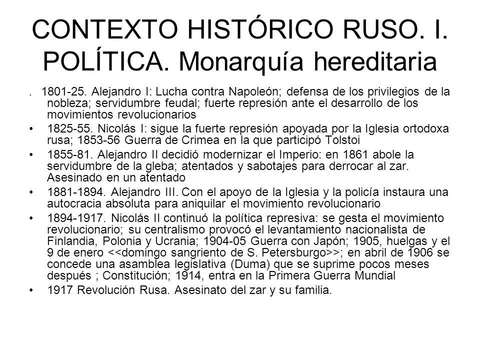 CONTEXTO HISTÓRICO RUSO. I. POLÍTICA. Monarquía hereditaria