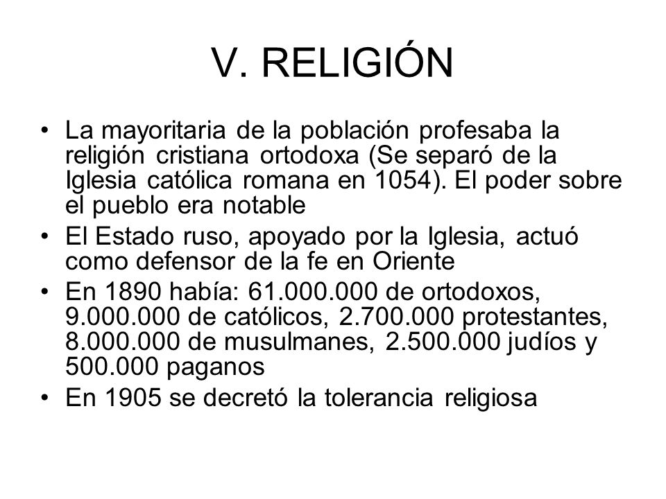 V. RELIGIÓN