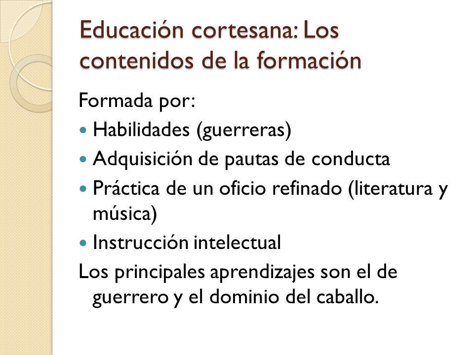 Educación cortesana: Los contenidos de la formación
