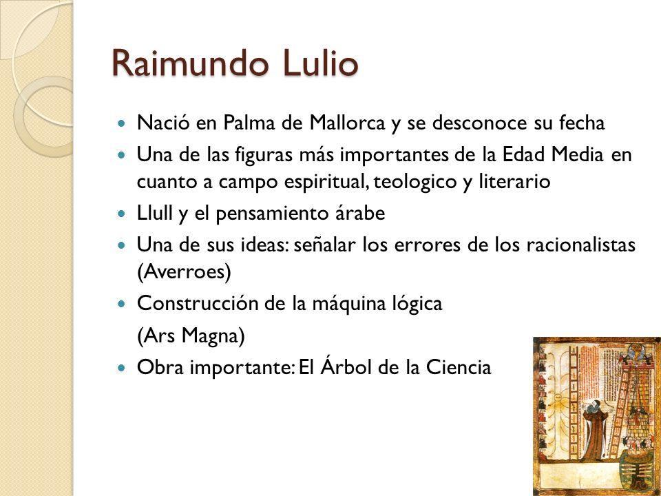 Raimundo Lulio Nació en Palma de Mallorca y se desconoce su fecha