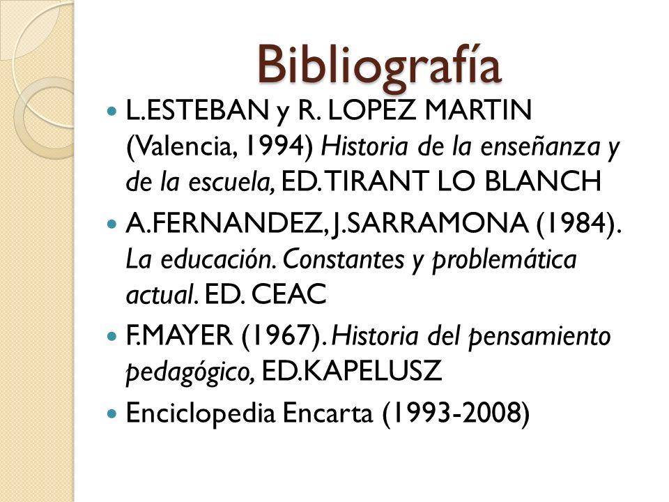 BibliografíaL.ESTEBAN y R. LOPEZ MARTIN (Valencia, 1994) Historia de la enseñanza y de la escuela, ED. TIRANT LO BLANCH.