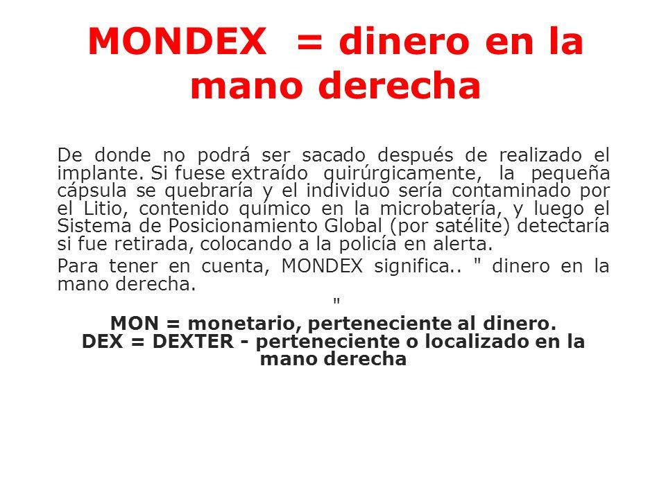 MONDEX = dinero en la mano derecha
