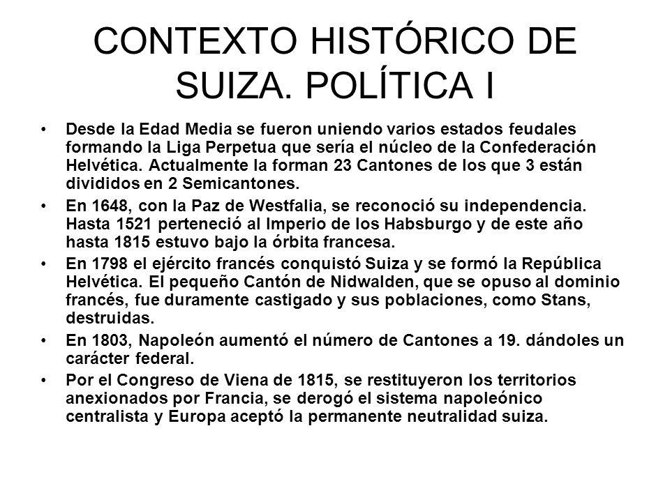 CONTEXTO HISTÓRICO DE SUIZA. POLÍTICA I