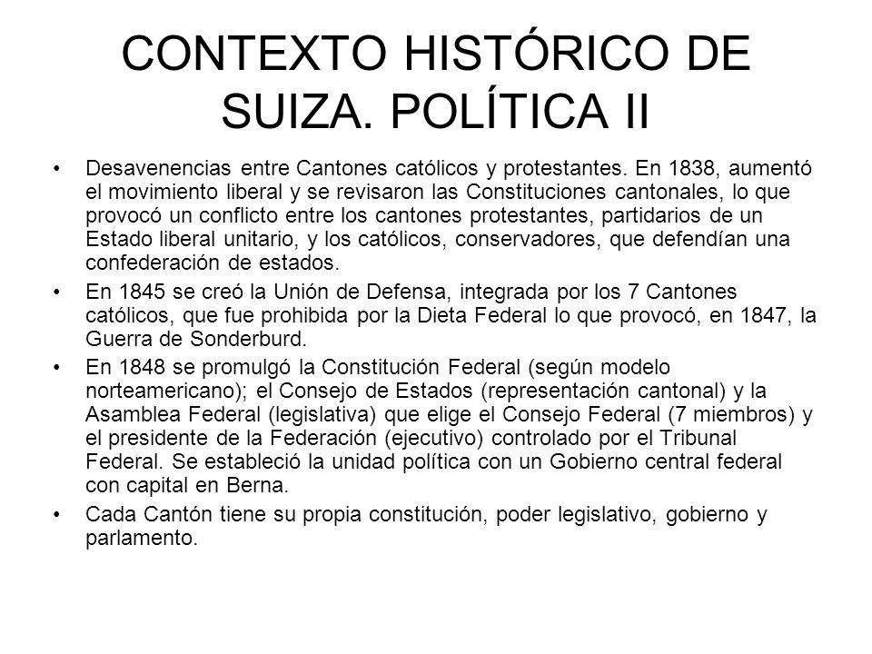 CONTEXTO HISTÓRICO DE SUIZA. POLÍTICA II