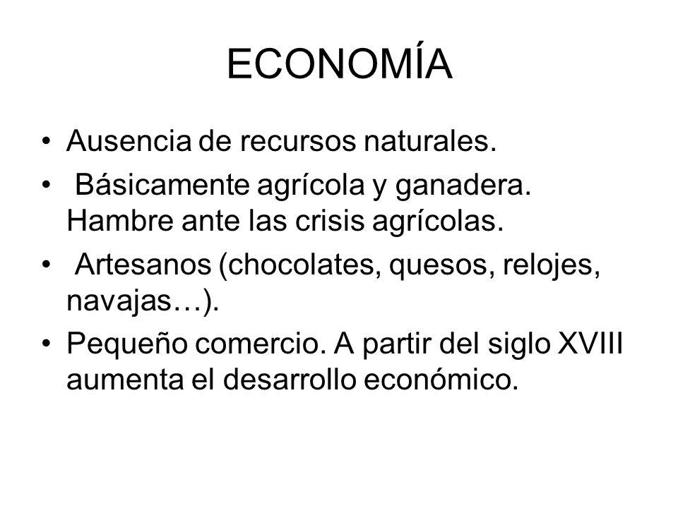 ECONOMÍA Ausencia de recursos naturales.