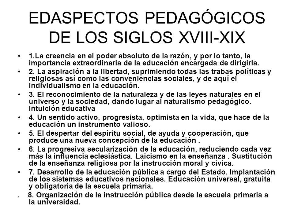 EDASPECTOS PEDAGÓGICOS DE LOS SIGLOS XVIII-XIX
