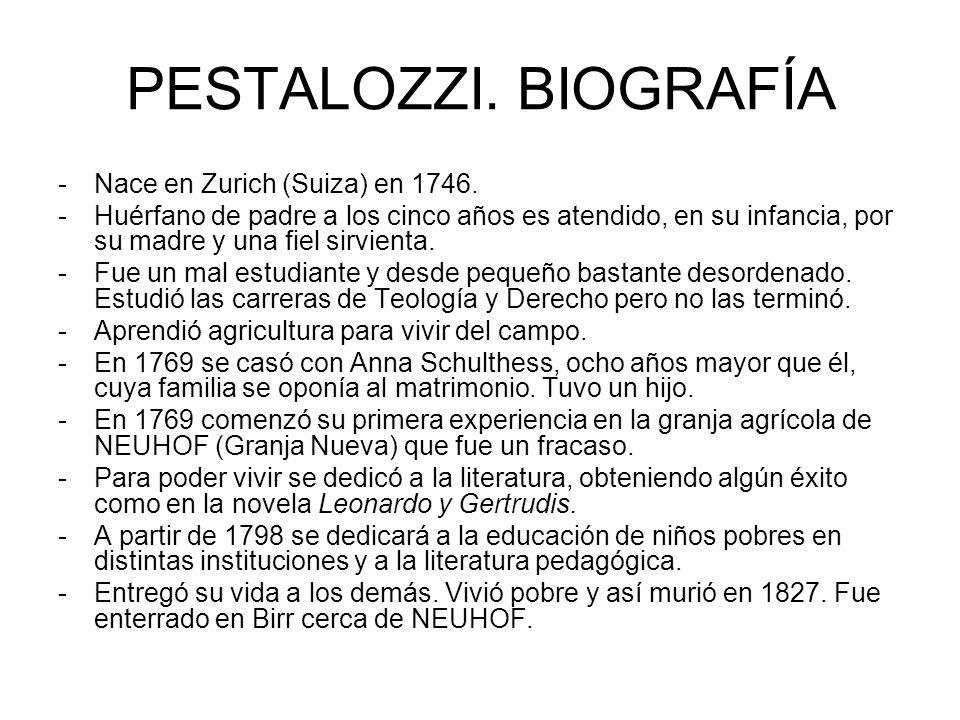 PESTALOZZI. BIOGRAFÍA Nace en Zurich (Suiza) en 1746.