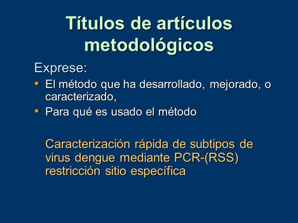 Títulos de artículos metodológicos