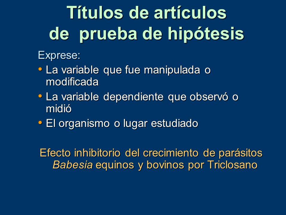 Títulos de artículos de prueba de hipótesis