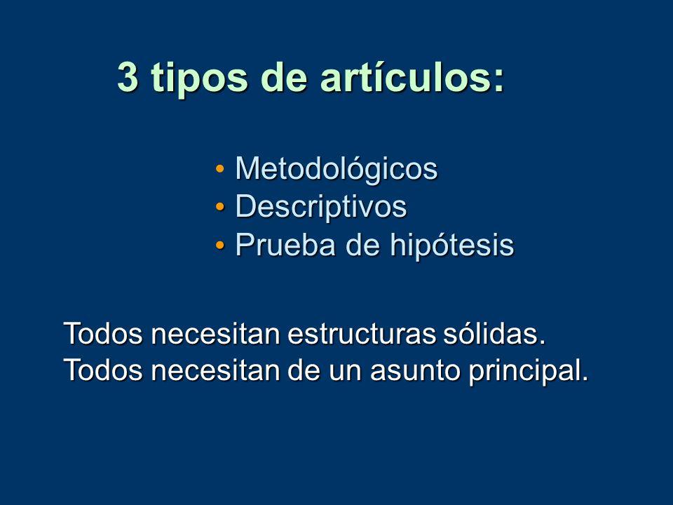 3 tipos de artículos: Metodológicos Descriptivos Prueba de hipótesis
